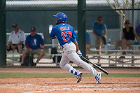 Chicago Cubs center fielder Luis Ayala (27) starts down the first base line during a Minor League Spring Training game against the Oakland Athletics at Sloan Park on March 13, 2018 in Mesa, Arizona. (Zachary Lucy/Four Seam Images)