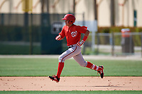 GCL Nationals left fielder Ricardo Mendez (16) running the bases during the first game of a doubleheader against the GCL Marlins on July 23, 2017 at Roger Dean Stadium Complex in Jupiter, Florida.  GCL Nationals defeated the GCL Marlins 4-0.  (Mike Janes/Four Seam Images)