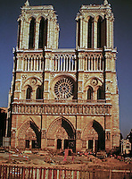 Notre-Dame de Paris, a Catholic cathedral on the Île de la Cité in the 4th arrondissement of Paris.   Considered to be one of the finest examples of French Gothic architecture.