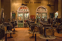 French Quarter, New Orleans, Louisiana.  Early Morning in the Cafe du Monde, famous for its coffee and beignets.