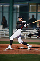 Stephen Hom (1) of Valley Christian High School in San Jose, California during the Baseball Factory All-America Pre-Season Tournament, powered by Under Armour, on January 13, 2018 at Sloan Park Complex in Mesa, Arizona.  (Mike Janes/Four Seam Images)