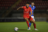 Lee Angol of Leyton Orient battles with Andrew Crofts of Brighton & Hove Albion (U23s) during the EFL Trophy behind closed doors match between Leyton Orient and Brighton & Hove Albion Under 21s at the Matchroom Stadium, London, England played without supporters able to attend due to ongoing covid-19 government guidelines on 8 September 2020. Photo by Vince  Mignott.