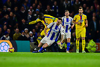 Shane Duffy of Brighton & Hove Albion (4) Is shown the red card and sent off for this challenge ,during the Premier League match between Brighton and Hove Albion and Crystal Palace at the American Express Community Stadium, Brighton and Hove, England on 4 December 2018. Photo by Edward Thomas / PRiME Media Images.