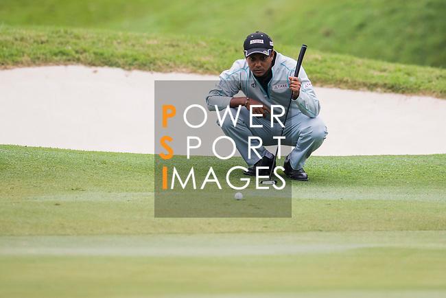 S.S.P. Chawrasia of India lines up a putt during the day three of UBS Hong Kong Open 2017 at the Hong Kong Golf Club on 25 November 2017, in Hong Kong, Hong Kong. Photo by Marcio Rodrigo Machado / Power Sport Images