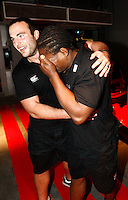 Photo: Richard Lane/Richard Lane Photography. London Wasps in Abu Dhabi for their LV= Cup game against Harlequins on 30st January 2011. 27/01/2011. Charlie Beech helps Serge Betsen off the fastest rollercoaster in the world at Ferrari World Abu Dhabi.