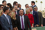 ARCADIA, CA  DECEMBER  30: Richard Baltas, trainer of #2 Midnight Crossing,  after she won the Robert J. Frankel Stakes (Grade lll) on December 30, 2017, at Santa Anita Park, in Arcadia, CA.(Photo by Casey Phillips/ Eclipse Sportswire/ Getty Images)
