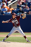 Andrew Vinson #10 of the Texas A&M Aggies pitches against the Cal State Fullerton Titans at Goodwin Field on March 10, 2013 in Fullerton, California. (Larry Goren/Four Seam Images)