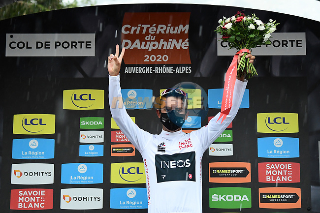 Egan Bernal (COL) Team Ineos retains the young riders White Jersey at the end of Stage 2 of Criterium du Dauphine 2020, running 135km from Vienne to Col de Porte, France. 13th August 2020.<br /> Picture: ASO/Alex Broadway | Cyclefile<br /> All photos usage must carry mandatory copyright credit (© Cyclefile | ASO/Alex Broadway)