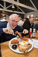 Former Royal Engineers veteran Wally Rees, 74 of Bingham, tucks into a big breakfast