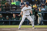 Michigan Wolverines outfielder Miles Lewis (3) at bat against the Michigan State Spartans during the NCAA baseball game on April 18, 2017 at Ray Fisher Stadium in Ann Arbor, Michigan. Michigan defeated Michigan State 12-4. (Andrew Woolley/Four Seam Images)