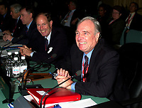 OTTAWA , November 17th 2001 FILE PHOTO<br />  David Dodge, Head, Bank of Canada (L) and <br /> <br /> Canadian Finances Minister Paul Martin (R) smiles for photographers while the G-20's Finances Ministers and Central Bank Governors get ready for the first meeting of Summit  2nd  day. November 17th, 2001 in Ottawa, CANADA<br /> <br /> The  G-20 meeting , where central bank chiefs and finance ministers from rich and poor nations discuss topics such as ; terrorism funding, economy slowdown and 3rd world nation's debt was initially scheduled for september in India,but  postponed  to  November 16th to 18th, 2001 and is beeing hosted by  Paul Martin
