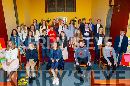 Former Spa NS  students at their Confirmation in the Church of the Purification in Churchill on Tuesday night. Back l to r: Peter Lenihan (Principal), Fr Francis Nolan and Mary Griffin Crowe (6th Class Teacher).