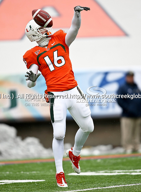 Miami Hurricanes quarterback Spencer Whipple (16) practices before the 2010 Hyundai Sun Bowl football game between the Notre Dame Fighting Irish and the Miami Hurricanes at the Sun Bowl Stadium in El Paso, Tx. Notre Dame defeats Miami 33 to 17...