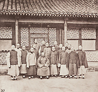 BNPS.co.uk (01202 558833)<br /> Pic: ForumAuctions/BNPS<br /> <br /> Pictured: There are images of locals  at a temple.<br /> <br /> Rarely seen 150 year old photos taken by one of the first British photographers to explore China have emerged for sale for £20,000.<br /> <br /> Scotsman John Thomson (1837-1921) travelled to the Far East in 1868 and established a studio in Hong Kong, using it as a base to explore remote parts of the vast country for the next four years, photographing landmarks, scenery and the native population.<br /> <br /> In many cases, he was the first Westerner the people he photographed had encountered.<br /> <br /> One striking image shows a prisoner in chains with a head poking through a board covered in Chinese symbols, perhaps listing his misdemeanours. In another, a man poses next to a giant camel statue in the grounds around the Ming tombs of the Forbidden City.<br /> <br /> Almost 100 of his photos feature in a rare first edition of 'Thomson Illustrations of China and Its People' (1873), which is going under the hammer with London-based Forum Auctions.