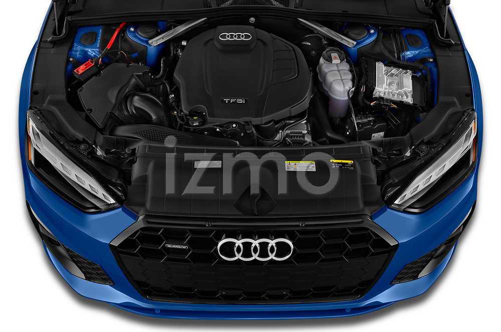 Car Stock 2020 Audi A5-Coupe Premium-plus 2 Door Coupe Engine  high angle detail view