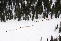Aerial of Teams @ Rest on Trail Between Finger Lake & Rainy Pass 2005 Iditarod AK