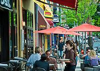 Cafes along Main Street, Manayunk, PA, Pennsylvania, USA