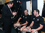 All Black assistant coach Steve Hansen talks with Keith Robinson (centre) and Reuben Thorne following the international rugby match between the New Zealand All Blacks and South Africa at Jade Stadium, Christchurch, New Zealand. 14 July 2007. Photo: Marc Weakley