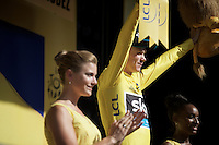 Chris Froome (GBR/SKY) getting another yellow jersey on the podium<br /> <br /> stage 13: Muret - Rodez<br /> 2015 Tour de France