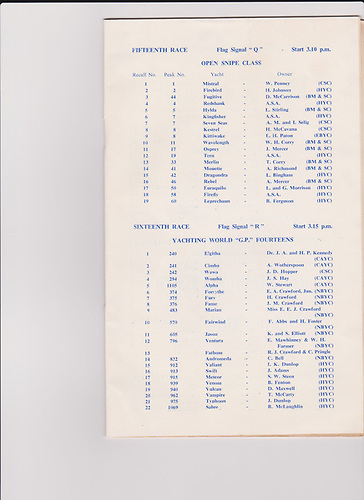 1956 BYC Regatta programme