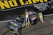 NASCAR XFINITY Series<br /> O'Reilly Auto Parts 300<br /> Texas Motor Speedway<br /> Fort Worth, TX USA<br /> Saturday 4 November 2017<br /> Erik Jones, GameStop Call of Duty WWII Toyota Camry, burnout<br /> World Copyright: Michael L. Levitt<br /> LAT Images