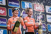 Women Elite Ronde van Vlaanderen 2018 podium champagne with:<br /> <br /> 1. Anna van der Breggen (NED/Boels Dotmans)<br /> 2. Amy Pieters (NED/Boels Dotmans)
