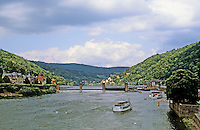 Heidelberg: Looking up Neckar River from Old Bridge. Photo '87.