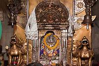 Bodhnath, Nepal.  Shrine to Ajima, or Harati Ma, Goddess Protector against Smallpox and Disease.