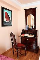 wooden davenport desk with mirror