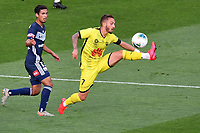 15th March 2020, Wellington, New Zealand;  Phoenix's Reno Piscopo stretches to take a pass during the A-League - Wellington Phoenix versus Melbourne Victory football match at Sky Stadium in Wellington on Sunday the 15th March 2020.