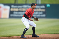 Kannapolis Intimidators shortstop Luis Curbelo (16) on defense against the Rome Braves at Kannapolis Intimidators Stadium on April 7, 2019 in Kannapolis, North Carolina. The Intimidators defeated the Braves 2-1. (Brian Westerholt/Four Seam Images)