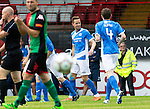 St Johnstone Pre-Season Training in Northern Ireland.. 08.07.16<br />Steven MacLean celebrates his goal<br />Picture by Graeme Hart.<br />Copyright Perthshire Picture Agency<br />Tel: 01738 623350  Mobile: 07990 594431