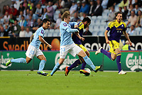 Thursday 08 August 2013<br /> Pictured: ALejandro Pozuelo of Swansea (R) brought down by Emil Forsberg of Malmo <br /> Re: Malmo FF v Swansea City FC, UEFA Europa League 3rd Qualifying Round, Second Leg, at the Swedbank Stadium, Malmo, Sweden.