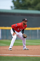 Erie SeaWolves third baseman Dawel Lugo (12) during a game against the Hartford Yard Goats on August 6, 2017 at UPMC Park in Erie, Pennsylvania.  Erie defeated Hartford 9-5.  (Mike Janes/Four Seam Images)