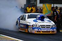 Jun. 2, 2013; Englishtown, NJ, USA: NHRA pro stock driver Allen Johnson during the Summer Nationals at Raceway Park. Mandatory Credit: Mark J. Rebilas-