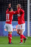 Standard forward Sanne Schoenmakers (8) and Standard can celebrate after scoring the 0-2 during a female soccer game between  AA Gent Ladies and Standard Femina de Liege on the 8 th matchday of the 2020 - 2021 season of Belgian Scooore Womens Super League , friday 20 th of November 2020  in Oostakker , Belgium . PHOTO SPORTPIX.BE   SPP   STIJN AUDOOREN