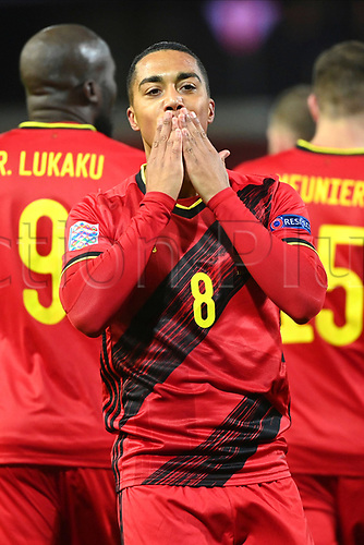 15th November 2020; Leuven, Belgium;  Youri Tielemans midfielder of Belgium celebrates scoring the opening goal during the UEFA Nations League match group stage final tournament - League A - Group 2 between Belgium and England