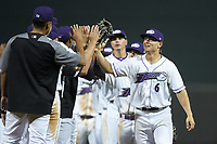 Steele Walker (6) of the Winston-Salem Dash high fives his teammates following the win over the Lynchburg Hillcats at BB&T Ballpark on May 9, 2019 in Winston-Salem, North Carolina. The Dash defeated the Hillcats 4-1. (Brian Westerholt/Four Seam Images)