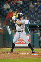 Ben Bengtson (5) of the West Virginia Power at bat against the Greensboro Grasshoppers at First National Bank Field on June 1, 2018 in Greensboro, North Carolina. The Grasshoppers defeated the Power 10-3. (Brian Westerholt/Four Seam Images)