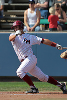 Colton Plaia #24 of the Loyola Marymount Lions bats against the Cal Poly Mustangs at Page Stadium on February 25, 2012 in Los Angeles,California. Cal Poly defeated LMU 12-5.(Larry Goren/Four Seam Images)