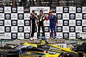 #26: Colton Herta, Andretti Autosport w/ Curb-Agajanian Honda, #2: Josef Newgarden, Team Penske Chevrolet, #9: Scott Dixon, Chip Ganassi Racing Honda, Champagne