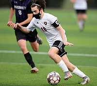 Oregon's Patrick Brognano brings the ball up the pitch, as Oregon takes on Waunakee in Wisconsin WIAA Badger Conference boys high school soccer on Tuesday, Apr. 27, 2021 at Waunakee High School