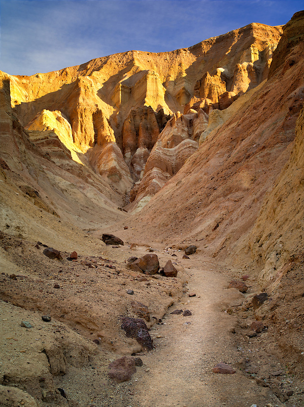 Trail and rock formations from Golden Canyon Trail. Death Valley National Park, California