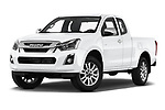 Stock pictures of low aggressive front three quarter view of 2019 Isuzu D-Max LS 2 Door Pick-up Low Aggressive