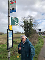 BNPS.co.uk (01202 558833)<br /> Pic: PennyIbbott/BNPS<br /> <br /> Pictured: Penny at a bus stop in February last year.<br /> <br /> Second time lucky...<br /> <br /> An intrepid pensioner has restarted her mission to travel around England on her free bus pass for charity 18 months after she had to cancel due to Covid.<br /> <br /> Grandmother Penny Ibbott was 16 days into her journey in March last year when Boris Johnson announced that people should stop any non-essential travel as the pandemic hit.<br /> <br /> The 75-year-old was devastated to call it off after months of planning, but has not let it beat her and has now set off to do the whole route again.