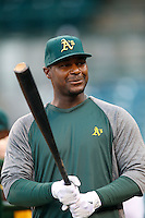Chris Carter #22 of the Oakland Athletics before a game against the Los Angeles Angels at Angel Stadium on September 10, 2012 in Anaheim, California. Oakland defeated Los Angeles 3-1. (Larry Goren/Four Seam Images)