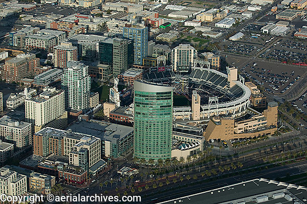 aerial view above Petco Park open air ballpark San Diego California