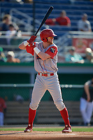 Williamsport Crosscutters Jake Holmes (22) at bat during a NY-Penn League game against the Batavia Muckdogs on August 25, 2019 at Dwyer Stadium in Batavia, New York.  Williamsport defeated Batavia 10-3.  (Mike Janes/Four Seam Images)