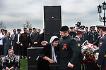 During the parade celebrating the 65th anniversary of Soviet victory in World War II,Chechen leader Ramzan Kadyrov greets the widow of a policemen killed in clashes with rebels.Grozny, Chechnya, Russia, 2010