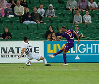 27th March 2021; HBF Park, Perth, Western Australia, Australia; A League Football, Perth Glory versus Newcastle Jets; Diego Castro of the Perth Glory has his shot blocked by Connor O'Toole of the Newcastle Jets